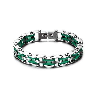 6d349948987ef BOBIJOO Jewelry - Bracelet Homme Chaine de Moto Vélo Acier Inoxydable  Silicone Vert Biker Motard