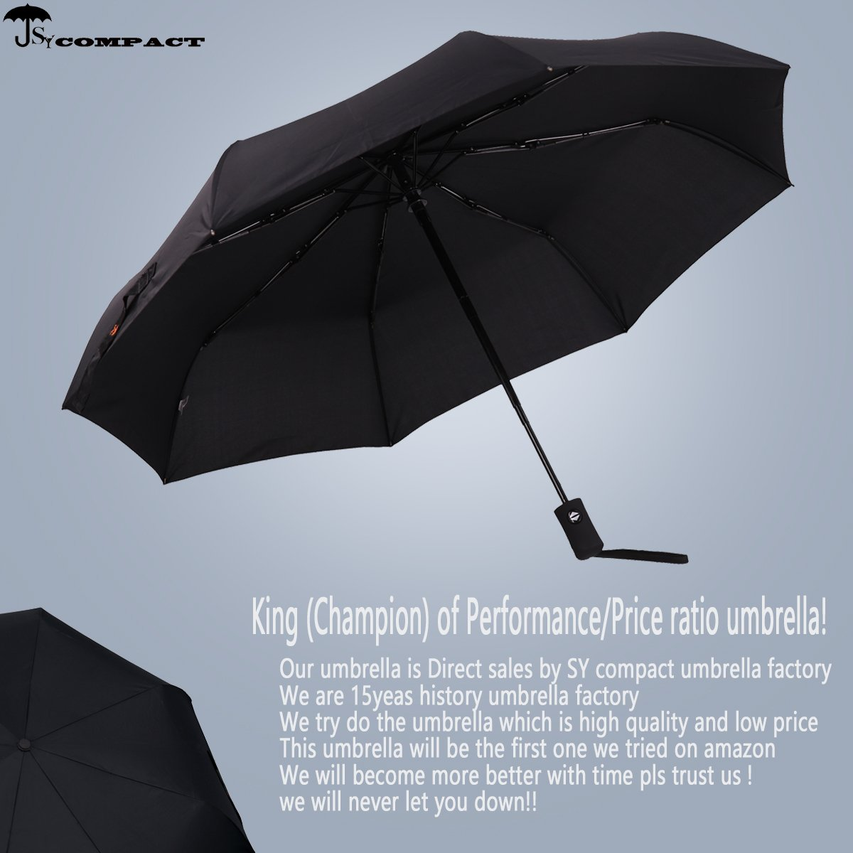 SY COMPACT Travel Umbrella Windproof Automatic Lightweight Unbreakable Umbrellas-Factory Outlet Umbrella (Black) by SY COMPACT (Image #2)