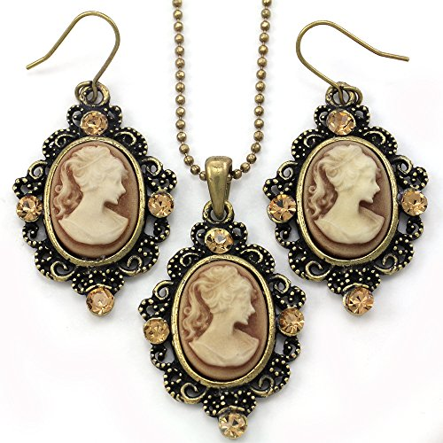 Cameo Set Earrings (Brown Cameo Necklace Fashion Jewelry Set Pendant Charm Dangle Drop Earrings)