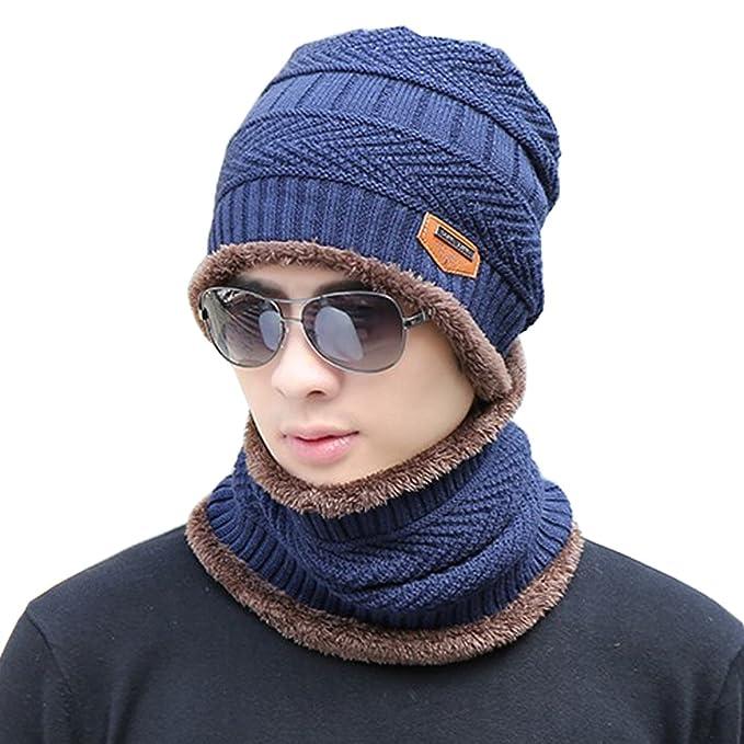 Supstar Berretto Uomo in Maglia per Inverno Caldo Cappello Beanie con  Sciarpa e2b9e28d94ba