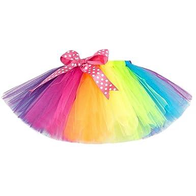b48cd201683f0 Longra Enfants Filles Tutu Tulle Partie Danse Ballet Enfants Jupe Costume  Arc-en-Ciel