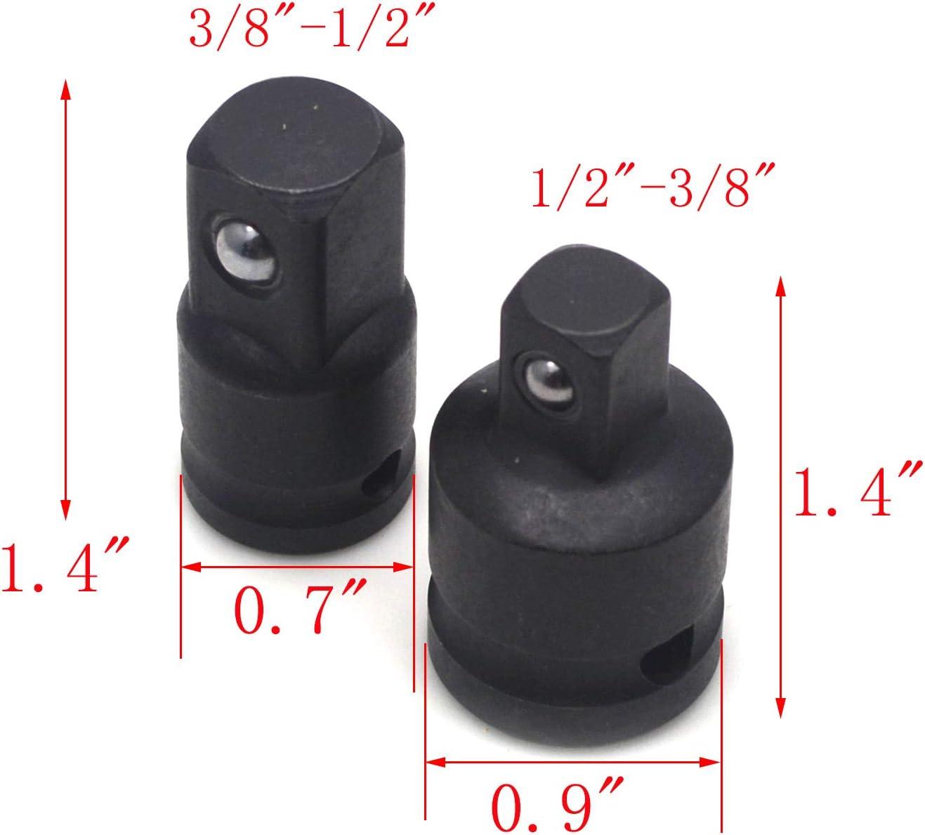 MTMTOOL 6 Piece Adapter and Reducer Set,1//4 3//8 1//2 Chrome Vanadium Steel Drive Socket Adapter Impact Adapter,Silver Tone