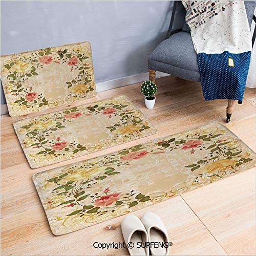 Bathroom Rugs Vintage,Oval Shape Floral Crown with Leaves and Roses Over Damask Motif Shabby Boho,Yellow Green Pink Microfiber