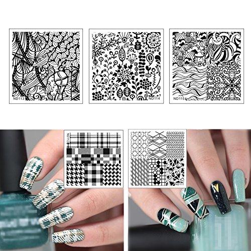 UPC 611714866549, NICOLE DIARY 5Pcs Nail Art Stamp Template Square Plates DIY Flower Image Plate Kits Nail Stamping Plates NDP111-115