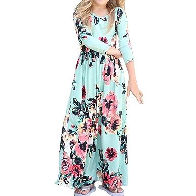 7acbfbea19447 junkai Princesse Robe pour Enfant Bébé Fille, Élégant Boho Impression Manches  Longues Robe Printemps Robe