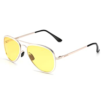 91809c6c55 Soxick® Mens HD Metal Polarized Night Driving Glasses Sports Sunglasses  (Gold Silver Frame Yellow Lens-3)