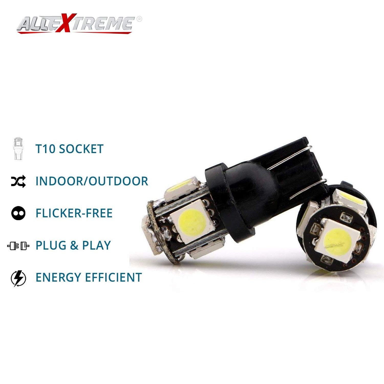 AllExtreme EXBA9SB BA9S LED Parking Light Super Bright 5 SMD Car Interior  License Plate Wedge Dome Trunk Dashboard Bulb for Car Bike and Motorcycle