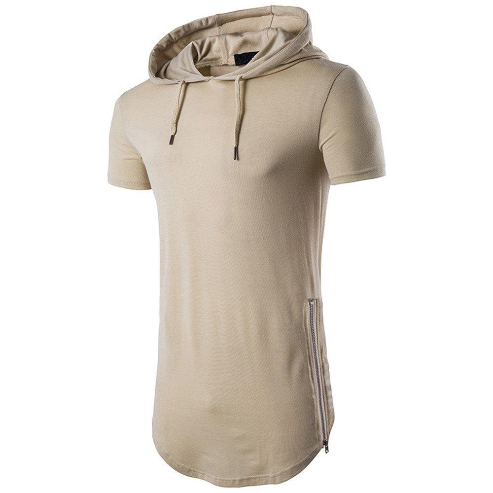 JIAJU-DJ Mens Casual Ripped Hole Short Sleeve T-Shirt Top Blouse