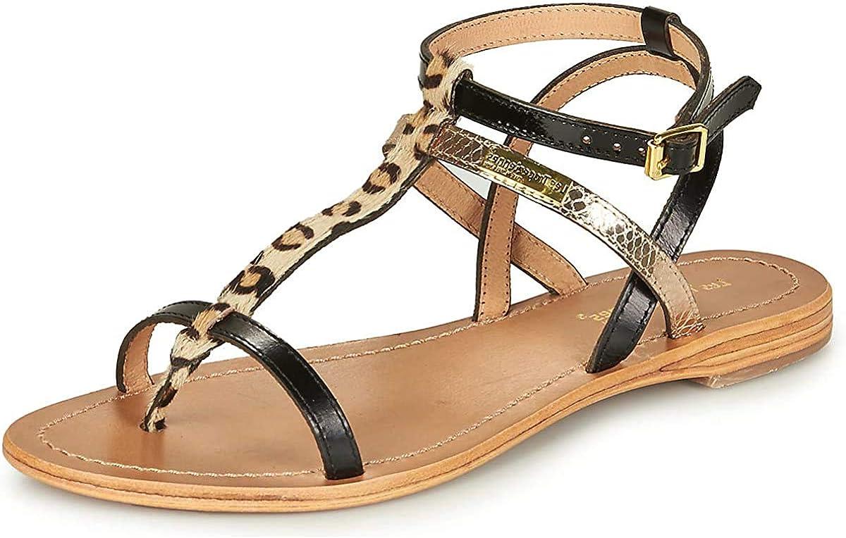 Les Tropéziennes par M. Belarbi Women's Ankle Strap Sandals, Black Noir Leopard 600, 7.5 UK