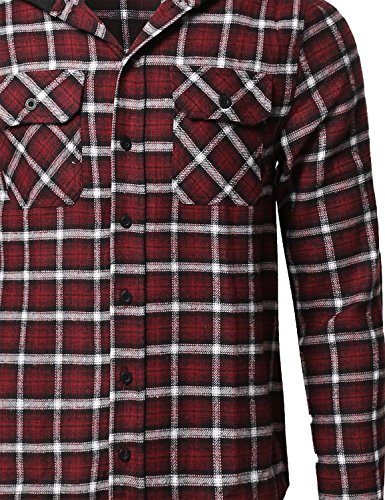 8885538a7d Button-Down Shirts Youstar Mens Plaid Flannel Long Sleeves Button Closure  Detachable Hoodie Shirt