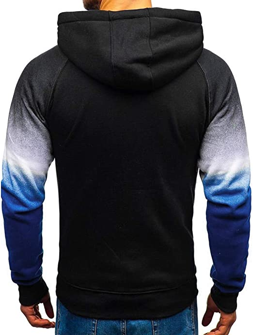 F/_Gotal Men Tie Dyeing Long Sleeve Hoodies Casual Hooded Pullover Sports Outwear Hoodies for Men Pullover Lightweight