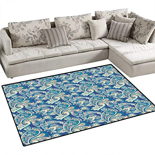 (Paisley Anti-Static Area Rugs Authentic Asian Inspired Floral Persian Fashion Boho Art Illustration Print Children Kids Nursery Rugs Floor Carpet 4'x6' Teal Navy and Tan)