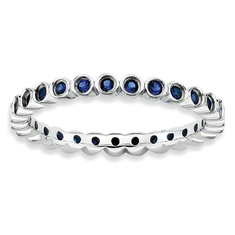 Sterling Silver Stackable Expressions Created Sapphire Ring Size 5