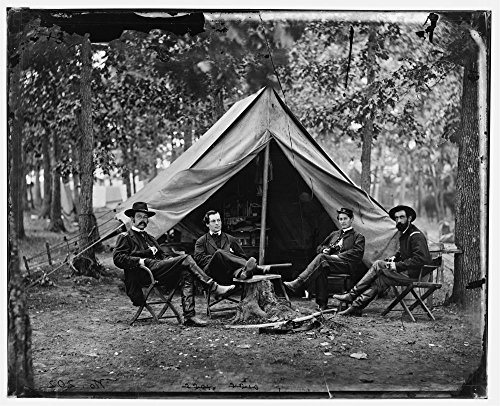 1864 Photo Brandy Station, Va. Col. George H. Sharpe, John G. Babcock, unidentified, and Lt. Col. John McEntee, Secret Service officers at Army of the Potomac headquarters Photograph from the main eas