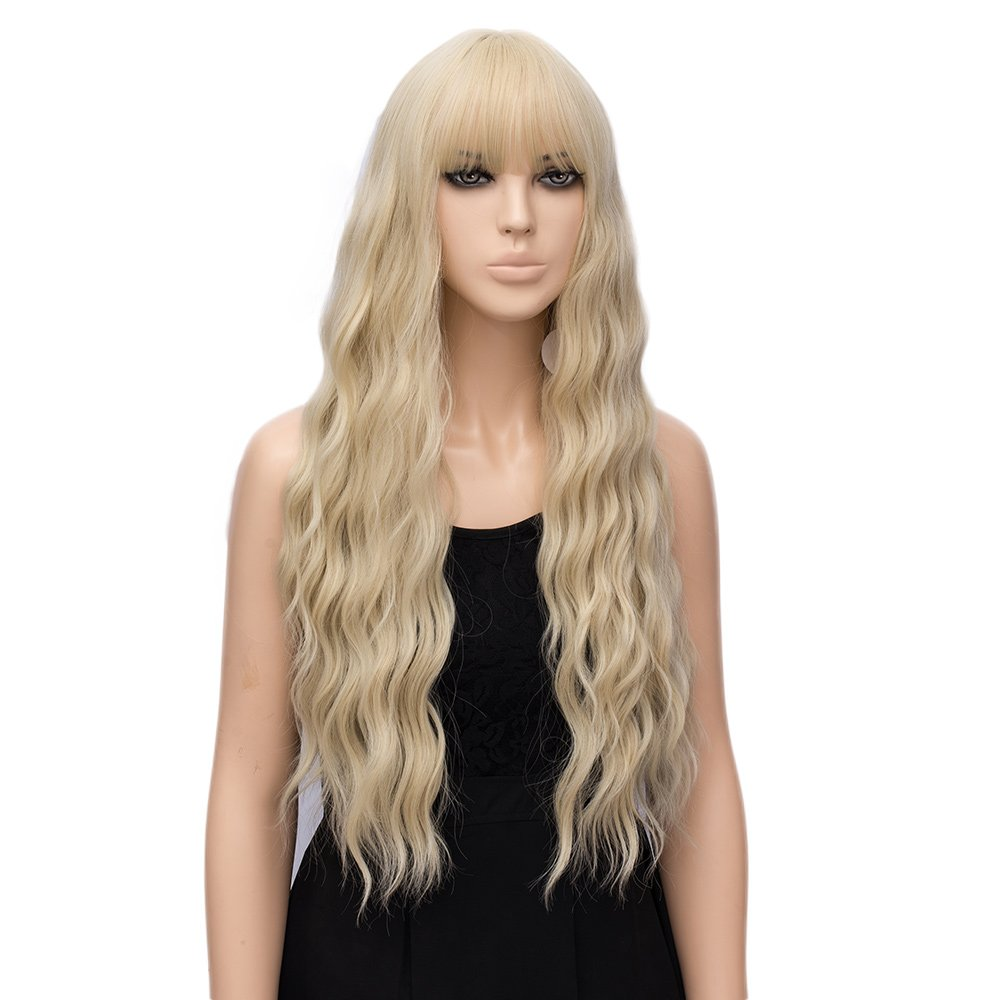 Women's Golden Blonde Wigs, Long Fluffy Curly Wavy Hair Wigs (Blonde)
