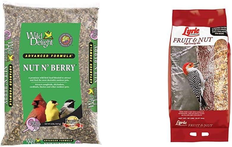 Wild Delight 366200 20-Pound Nut N-Berry Birdfood, 20 lb & Lyric 2647417 Fruit & Nut High Energy Wild Bird Food, 20 lb