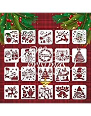 Christmas Stencils Template, 20 Pcs Merry Christmas Stencil Reusable Glass Fabrics Wood Cards Posters DIY Drawing Painting Craft for Christmas Decor