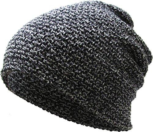 KBETHOS KBW-251 Blk Waffle Knit Slouchy Beanie Baggy Style Skull Cap Winter Unisex Ski Hat
