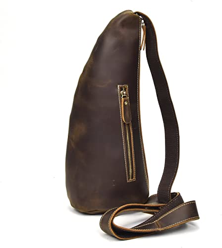 Men/'s Genuine Leather Sling Crossbody Bags Chest Shoulder Bag Satchel Backpack
