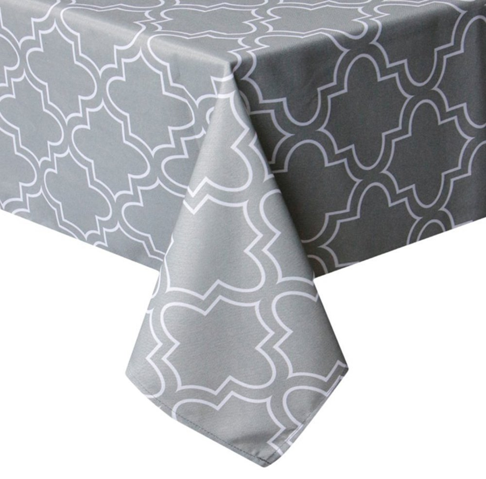 "Tektrum Rectangular Microfiber Moroccan Quatrefoil Tablecloth Table Cover - Spill Proof/Stain Resistant/Waterproof/Wrinkle Free - Great for Parties, Banquet, Dinner, Kitchen (60"" x 102"", Light Grey)"