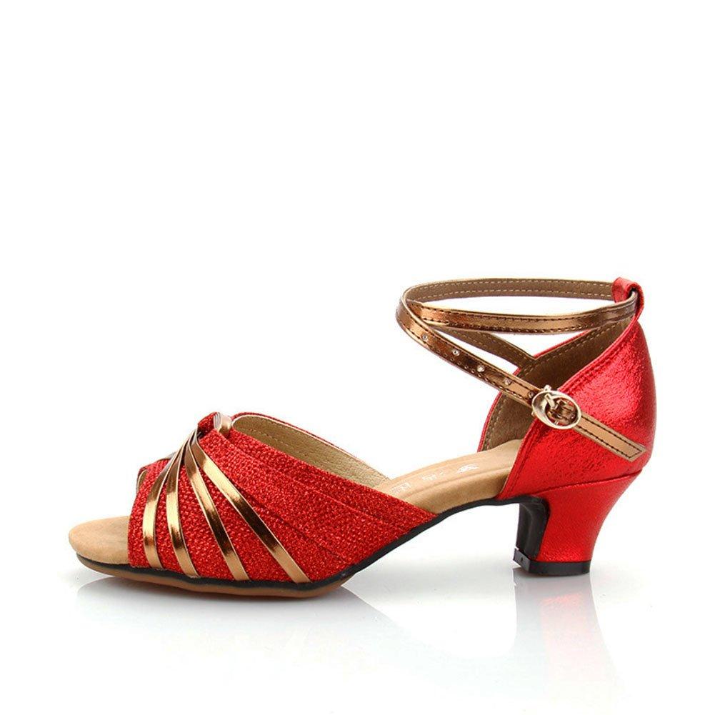 QWERTYUIOP Frauen Latein Tanzschuhe Mittleren Heels Dancing Schuhe Leise Unten Ballroom Dance Schuhe