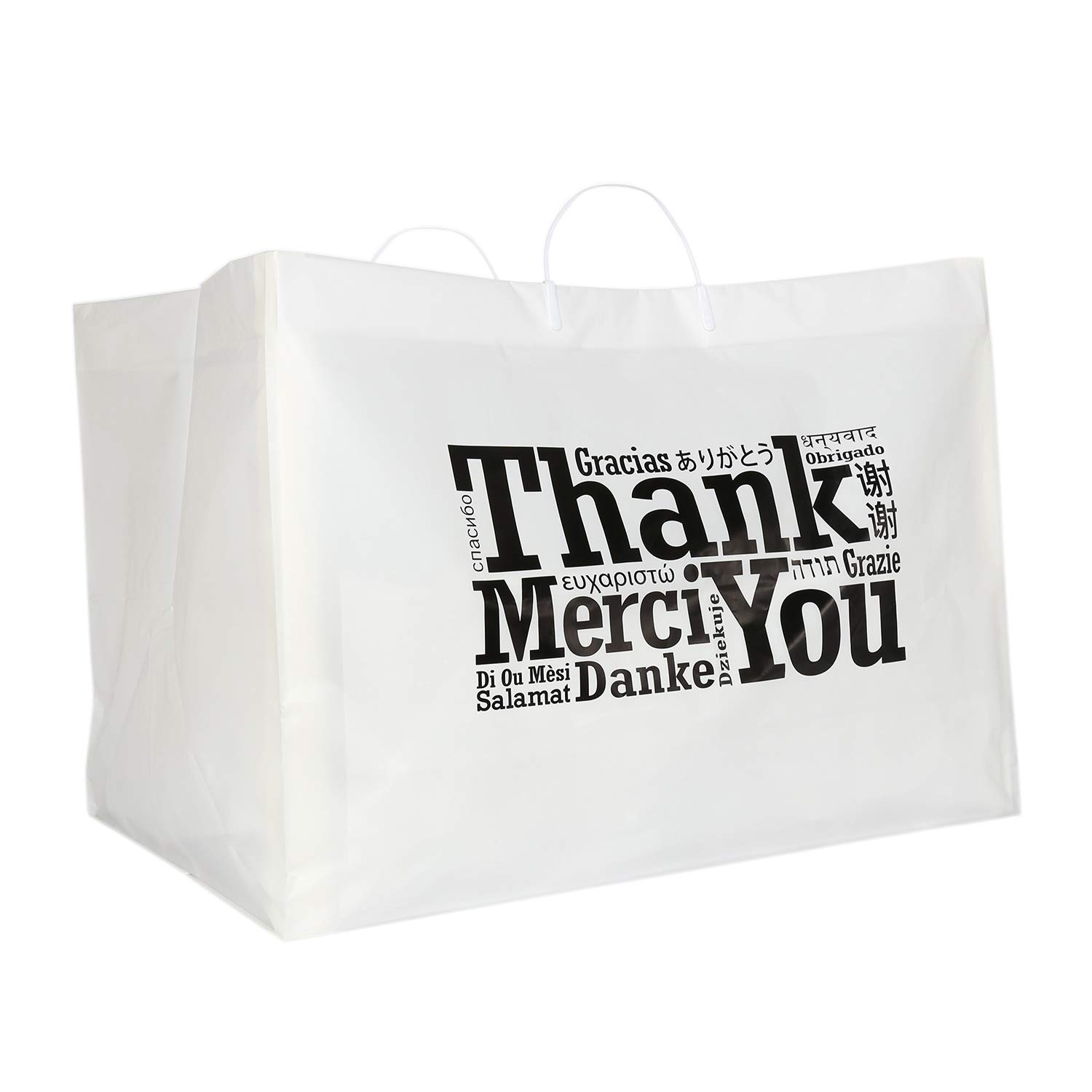 Royal Recyclable Plastic Shopping Bags with Rigid Handles, 22'' x 14'' x 15'', Multilingual''Thank You'' Design, Case of 50