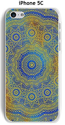 Cover Apple iPhone 5C Design Mandala rosone Blu & Giallo
