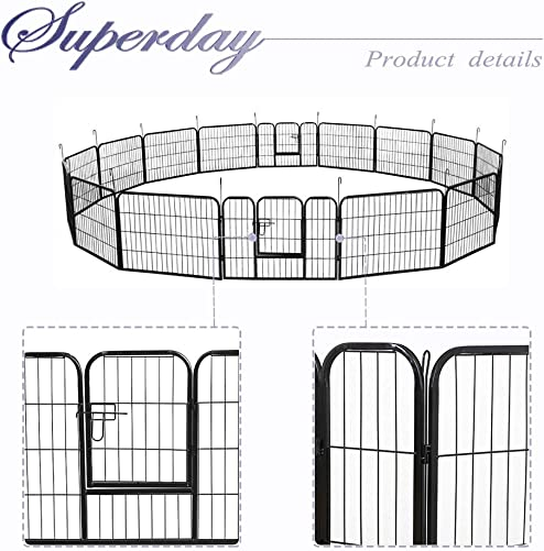Superday Decorative Garden Fence Heavy Duty Pet Dog Playpen Pet Foldable Exercise Fence Barrier Metal Playpen Kennel Exercise Play Yard 16 Panels 24 inch Height