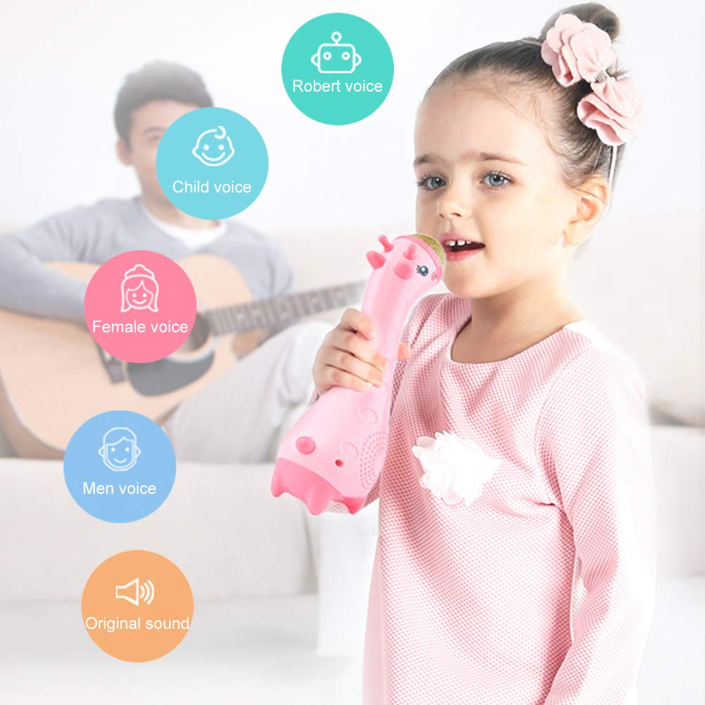 Luckstar Kids Magic Microphone Wireless Karaoke with Bluetooth Speakers Changing Enfant Cartoon Music Microphone Wireless Bluetooth KTV Speaker Toy Gift (Pink) by Luckstar (Image #2)
