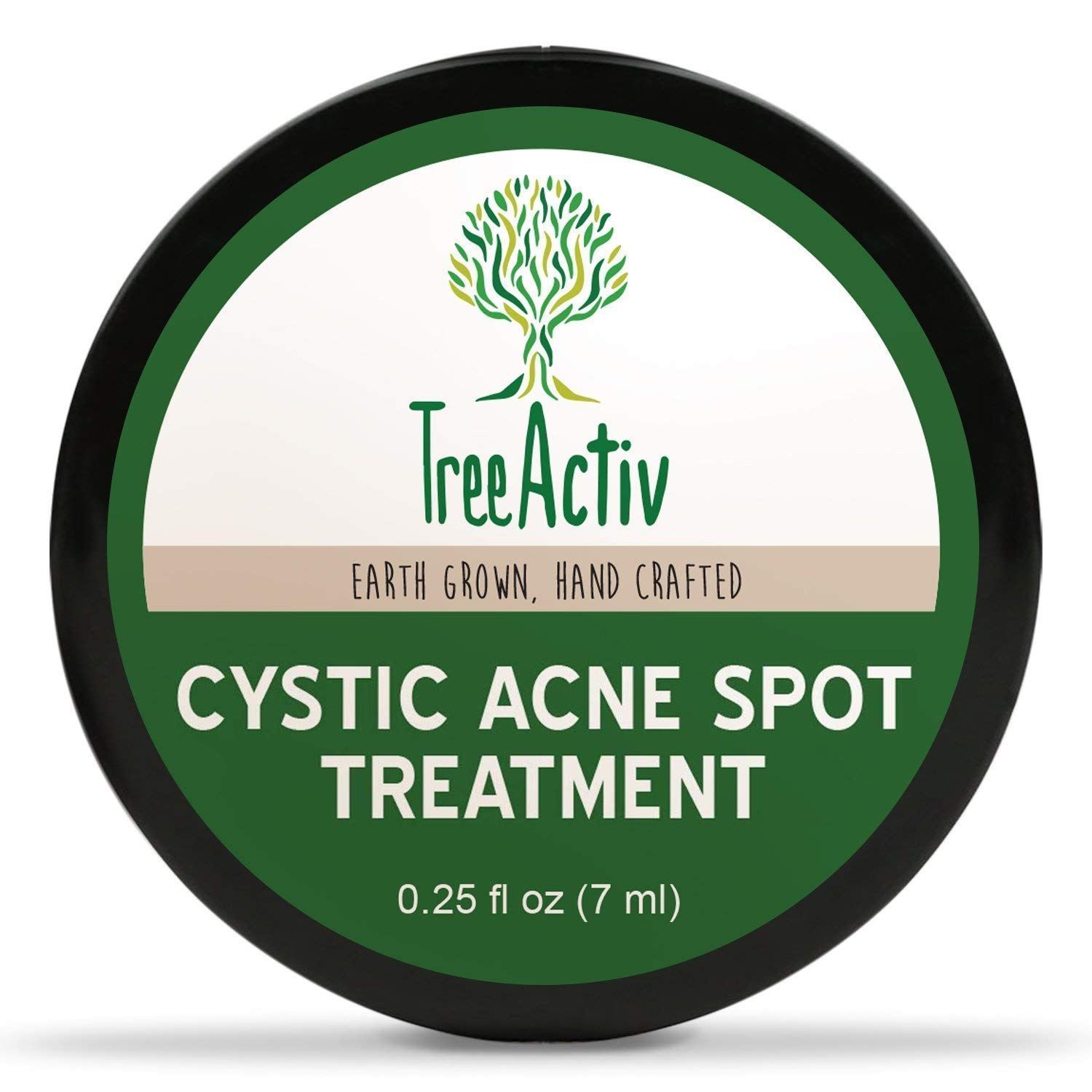 TreeActiv Cystic Acne Spot Treatment, Best Extra Strength Fast Acting Formula for Clearing Severe Acne from Face and Body, Gentle Enough for Sensitive Skin, Adults, Teens, Men, Women (Full Size)