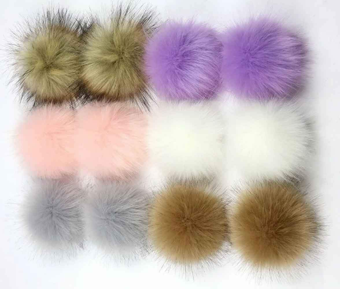 NASHALYLY DIY 12pcs Faux Fox Fur Fluffy Pompom Ball for Hat Shoes Scarves Bag Charms (C)