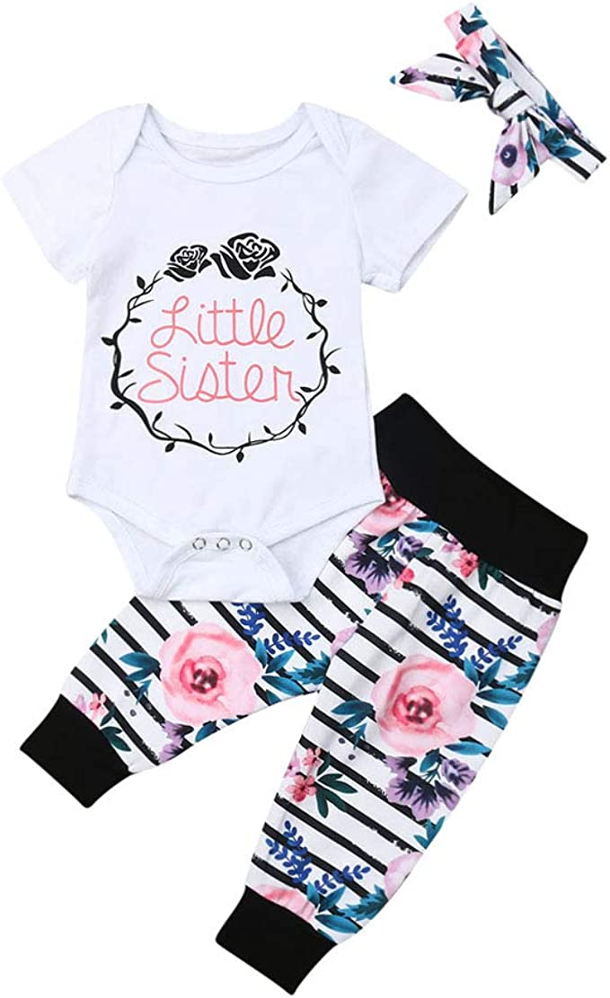 US Baby Kid Girl Sister Matching Clothes Romper Outfits T Shirt Tops Pants Set