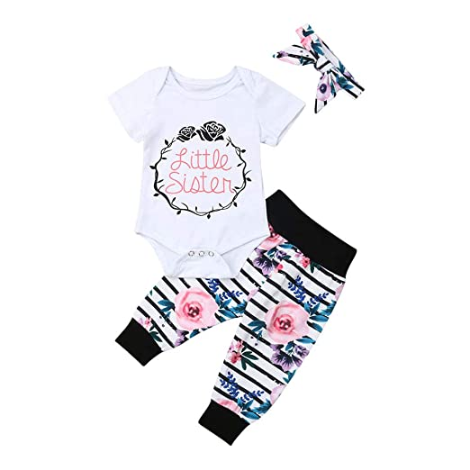 b85068831e012 Newborn Toddler Baby Girl Clothes Little Sister Big Sister Bodysuit Romper  Shirt+Floral Striped Pants+Headbands Outfits Set