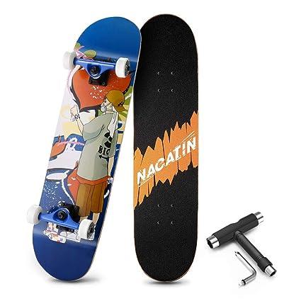 NACATIN Skateboard Completo para Adultos y Niños con Rotamiento 602 y 608 ABEC-9, 92A y 8 Capas de Madera de Arce Monopatin 80x20x11cm, Carga de 180 ...