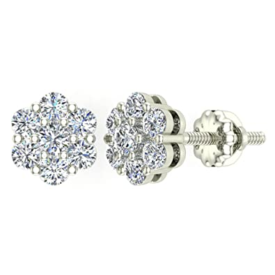 fa9cc4305 Amazon.com: 0.62 ct tw Cluster Diamond Flower Stud Earrings 14K White Gold:  Jewelry