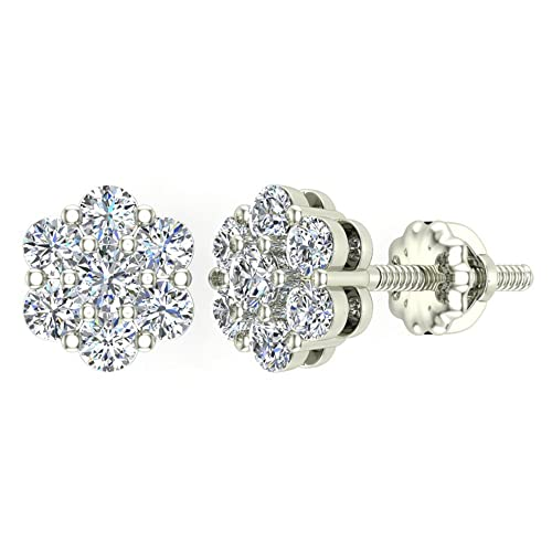 Floral Cluster Diamond Stud Earrings 14K Gold