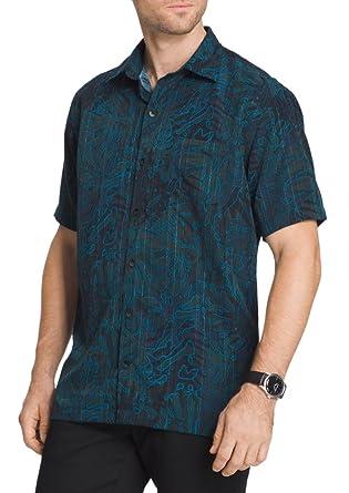 e42c16ff Van Heusen Men's Big & Tall Oasis Print Dobby Button-Down Shirt (Aqua Deep