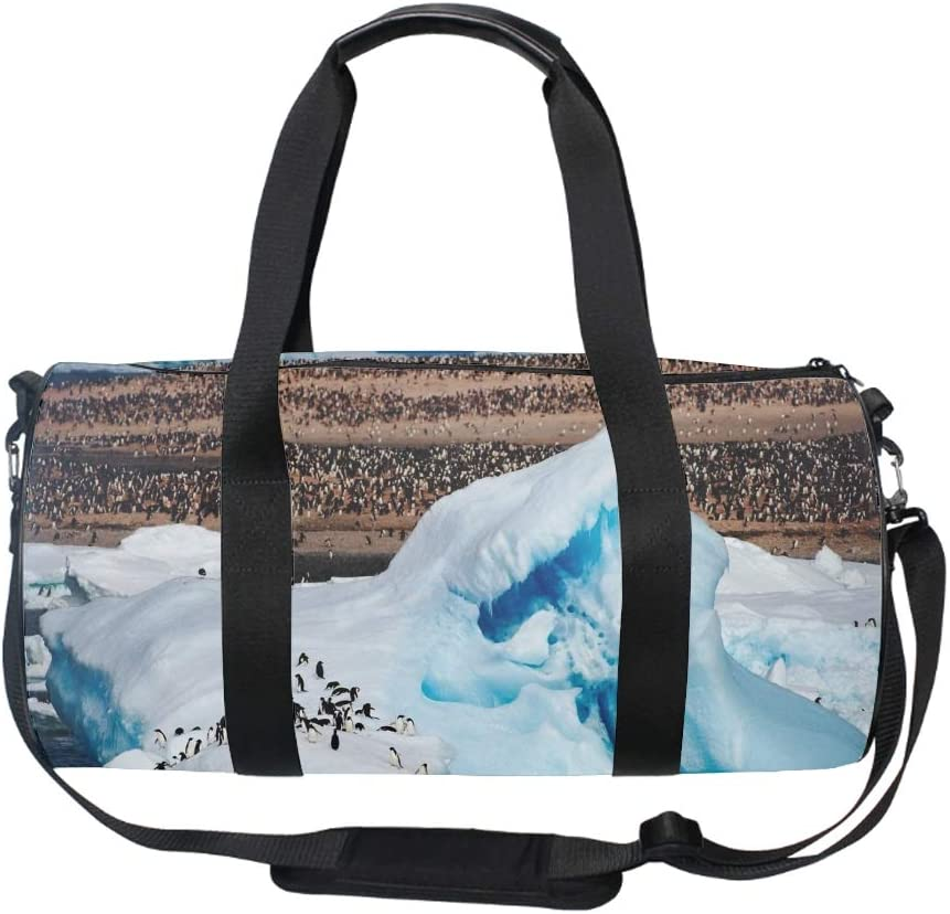 17 Blank Sports Duffle Bag Penguin Sea Gym Bag Travel Duffel with Adjustable Strap
