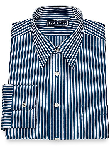 Herringbone Stripe Dress Shirt (Paul Fredrick Men's Slim Fit Cotton Herringbone Stripe Dress Shirt Navy 17.0/36)