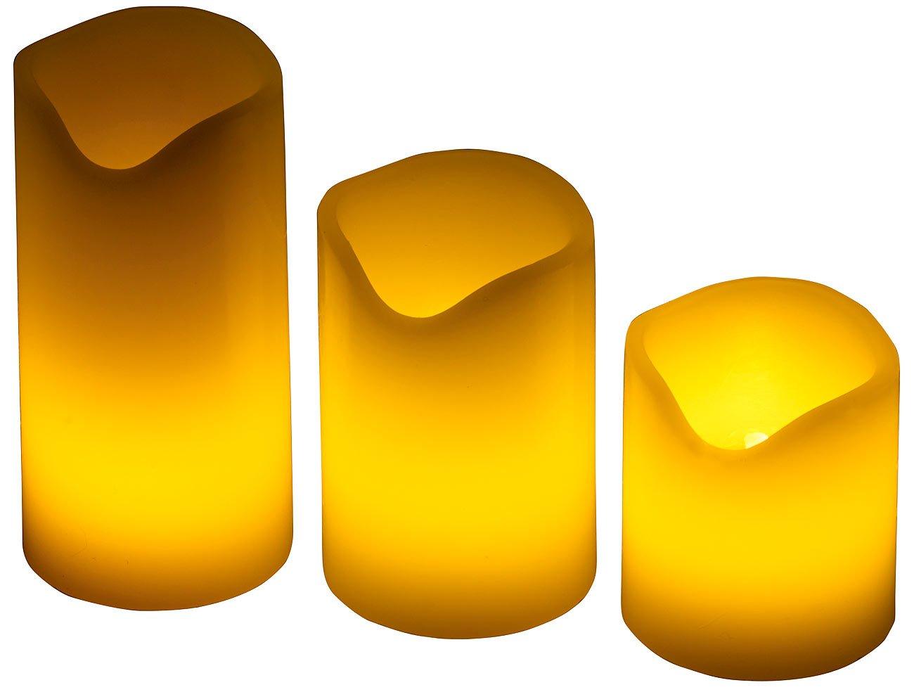 PEARL LED Kerzen mit Timer: 3er-Set LED-Kerzen, Echtwachs-Mantel, Flacker-Flamme, Batteriebetrieb (LED-Kerzen Wachs)