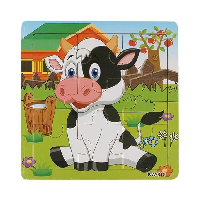 Puzzle en bois - Yogogo - Jouets pour enfants - Puzzles Education apprentissage - Animaux Puzzle (vache)
