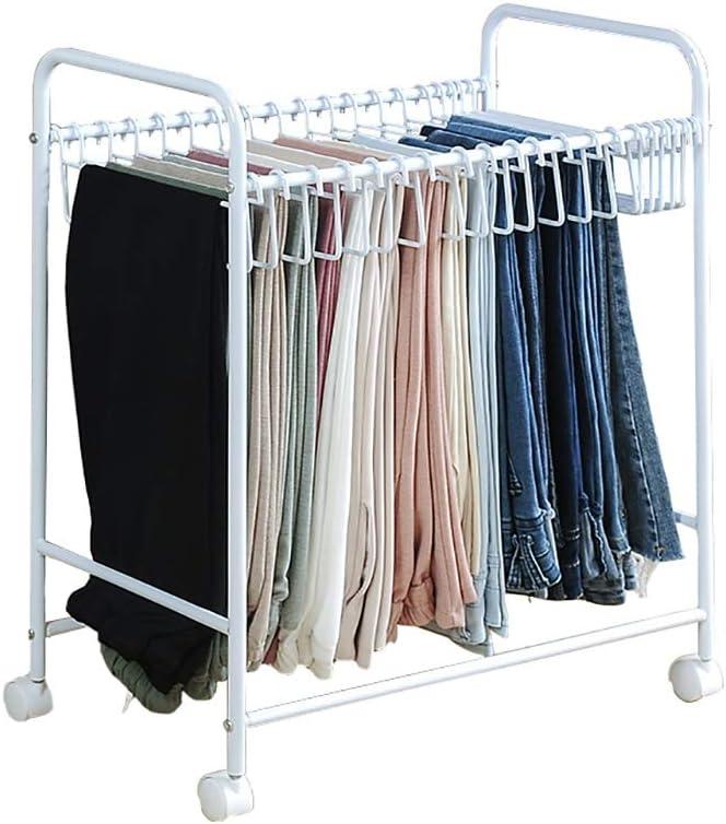 Rack Estante for Pantalones - Arte de Hierro - Aterrizaje - Simple - Se Puede Mover - Adecuado for el Dormitorio - Perchas - Pantalón de Traje Que cuelga - 60.5cm * 35cm * 69.5cm (Color : White)