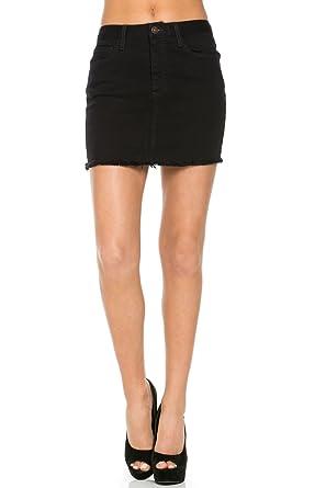O2 Denim Women's High Waisted Denim Short Skirt Small Black SK9002