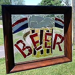 Stained Glass Mosaic BEER sign Window Art Sun Catcher Beer mug