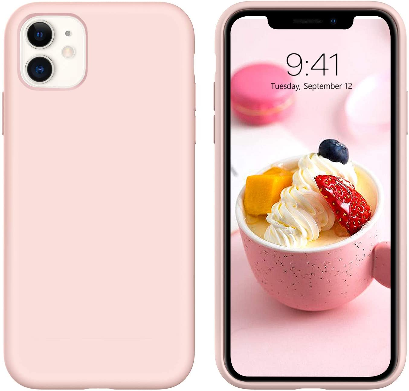 """iPhone 11 Case Silicone,DUEDUE Liquid Silicone Soft Gel Rubber Slim Cover with Microfiber Cloth Lining Cushion Shockproof Full Body Protective Case for iPhone 11 6.1"""" 2019,Pink Sand"""