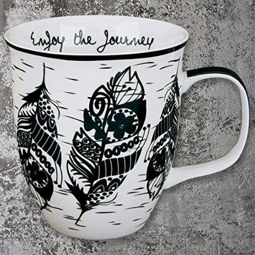 Boho Black and White Mug, Feather