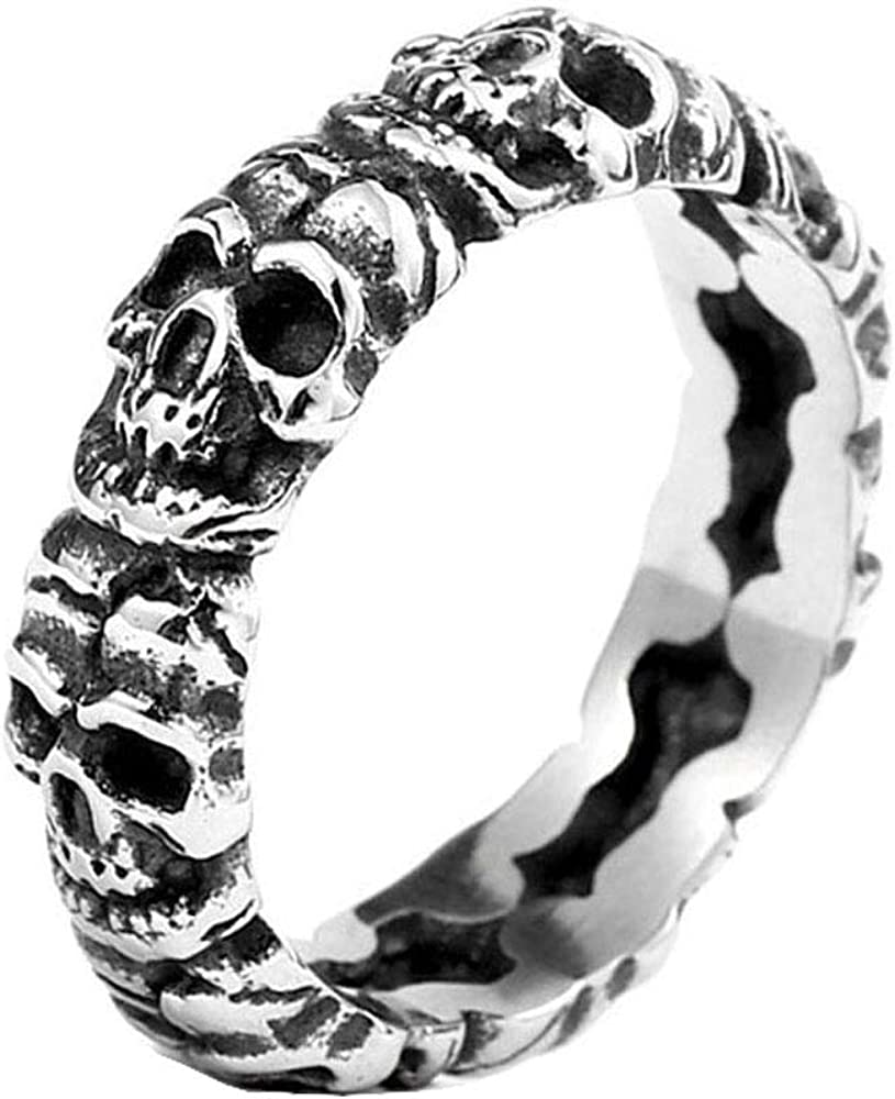 ZMY Mens Fashion Jewelry Rings, 316L Stainless Steel Punk Skull Circle Ring Men
