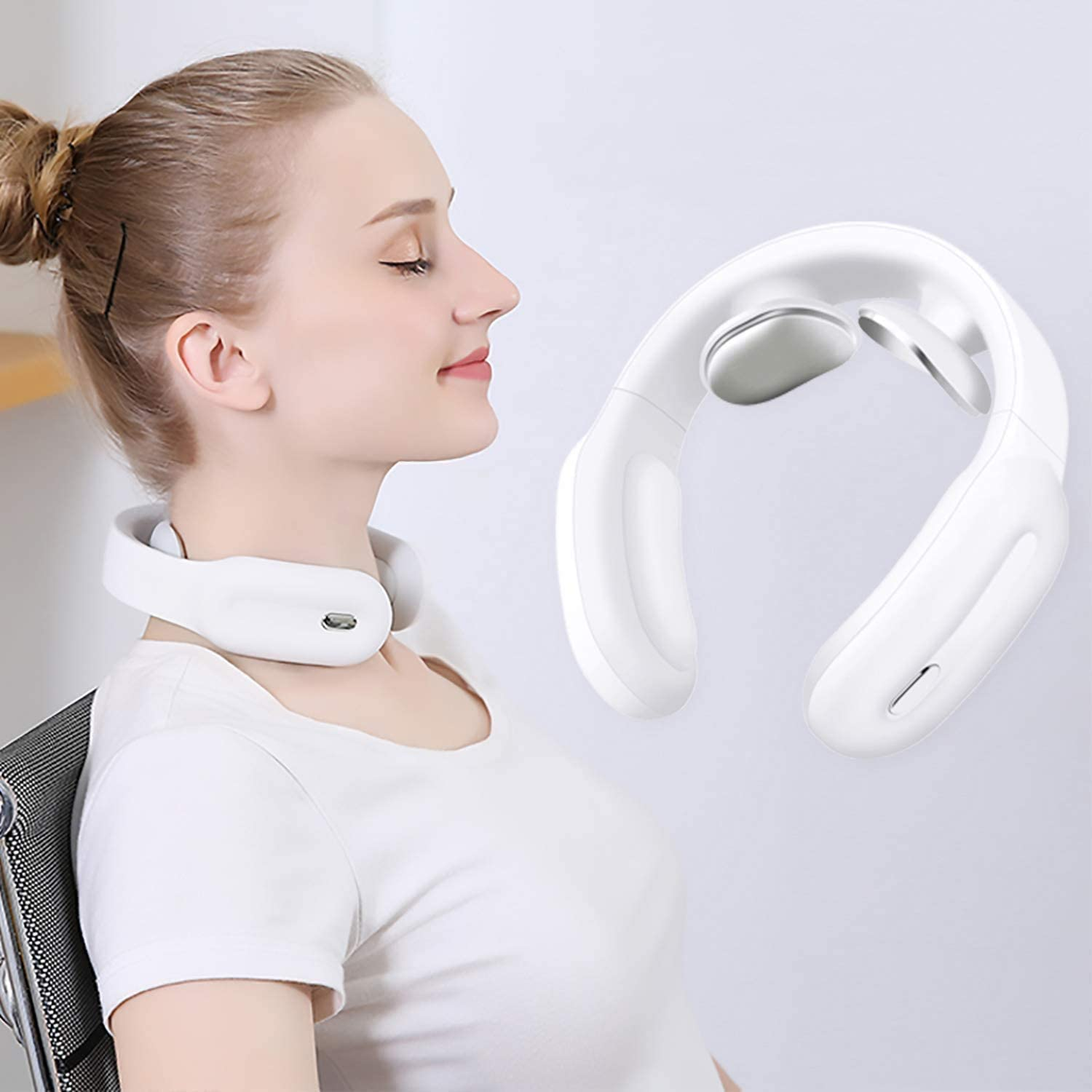 Neck Massager with Heat ,Cordless Intelligent Portable ,4D Neck Massage Equipment with 3 Modes 18 Levels Smart Deep Tissue Trigger Point for Office, Home,Sport,Travel PGG-bro