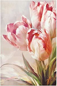 Diamond Painting Art Kit DIY Cross Stitch by Number Kit,Full Drill Pink Tulips DIY Arts Craft Wall Decor Wall Decor (Color : Pink Tulips, Size : 80120cm)