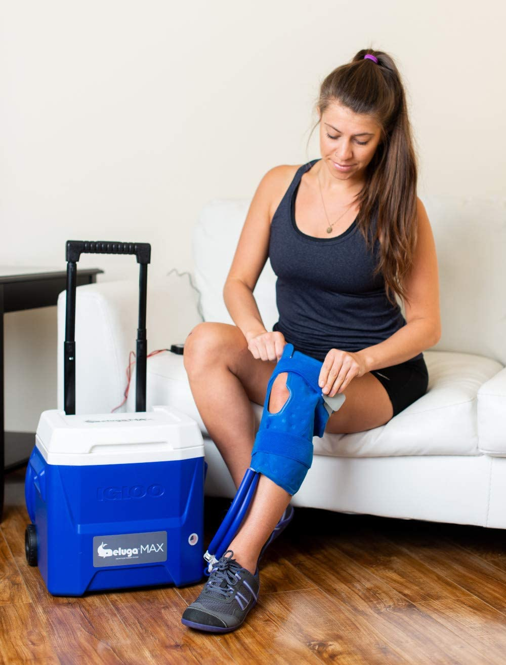 Beluga MAX Arctic Flow Therapy System with Knee Wrap   with Advanced Programmable Digital Timer   Rolling 16qt Cooling Reservoir   Extendable Handle